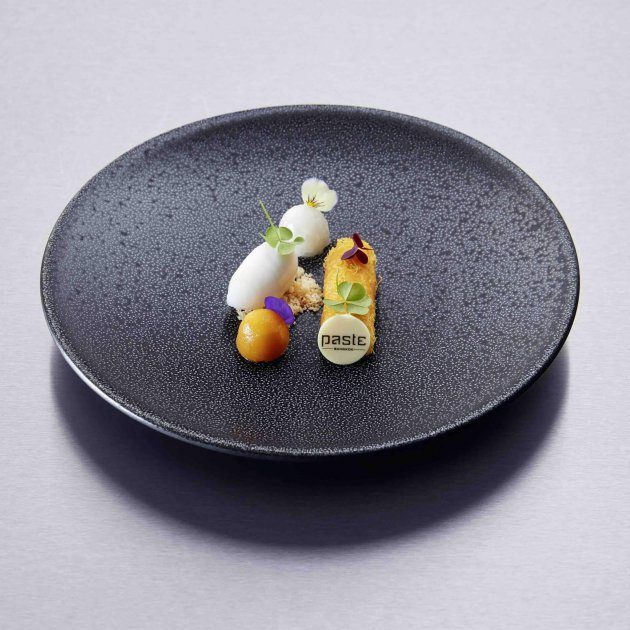 Bee Satongun, guest chef March 2019, food, Restaurant Ikarus, Hangar-7, Salzburg, Austria, 2019.03.01, Mango sticky rice, jasmine sorbet / Bee Satongun, Gastkoch März 2019, Gericht, Restaurant Ikarus, Hangar-7, Salzburg, Österreich, 2019.03.01, Klebereis, Mango, Jasmin-Sorbet