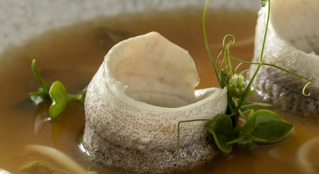 Murray cod in a shitake-anchovy broth, refreshed with lemongrass & young coconut juice