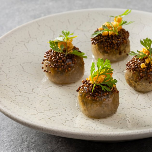 Tapioca dumplings of local smoked trout, toasted peanuts & perilla seeds